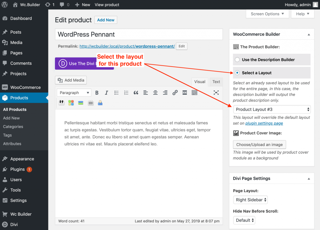 The product editing page