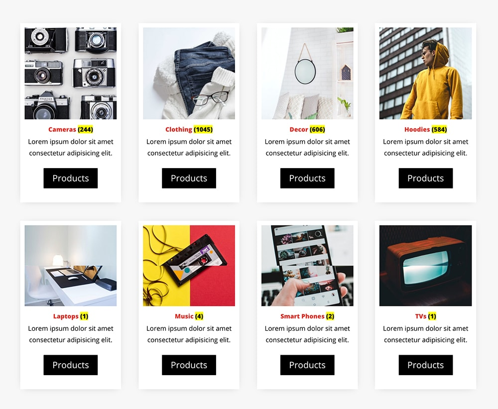 WooCommerce Categories Module for Divi theme