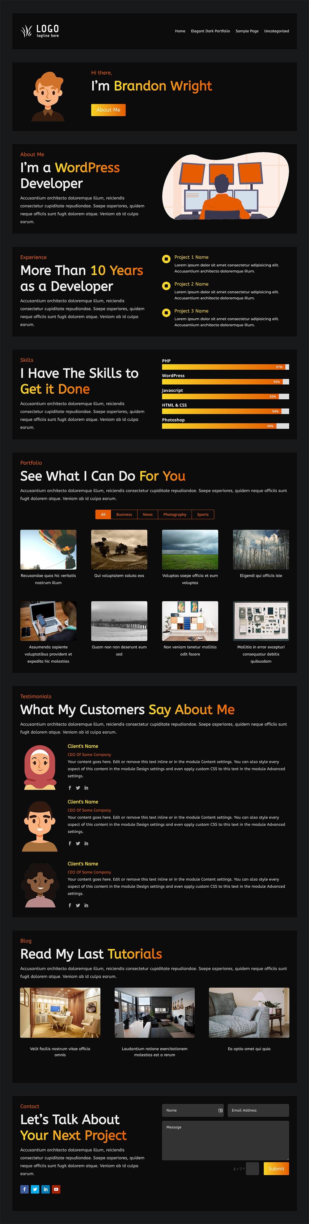 free divi layout, portfolio layout