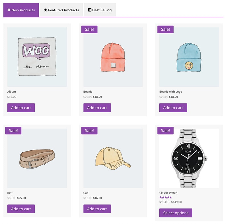 shop tabs module for Divi design 1