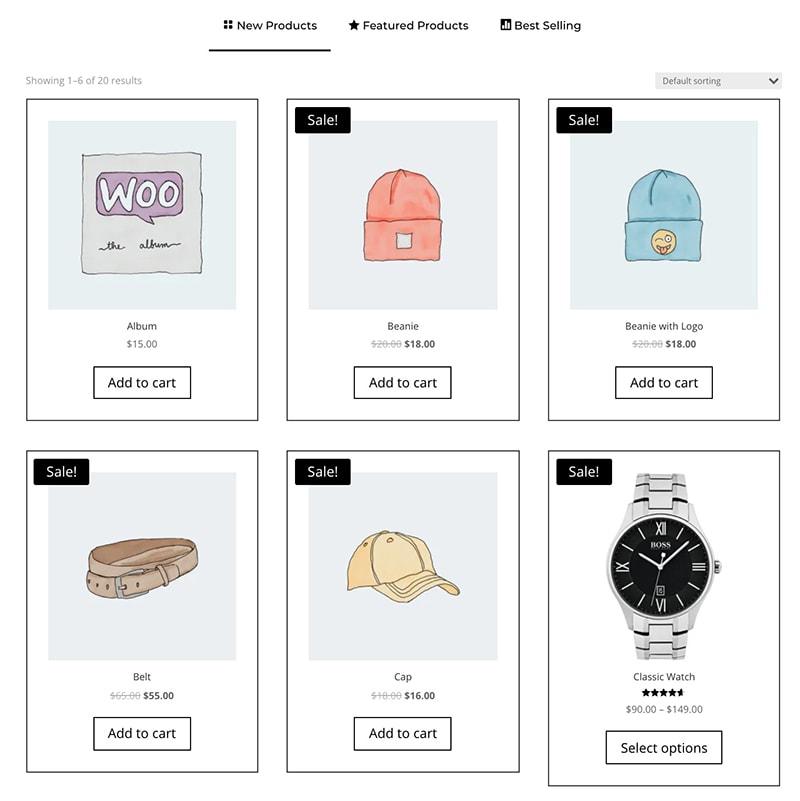 shop tabs module for Divi design 2