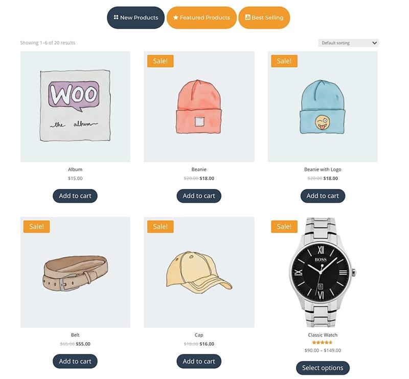 shop tabs module for Divi design 3