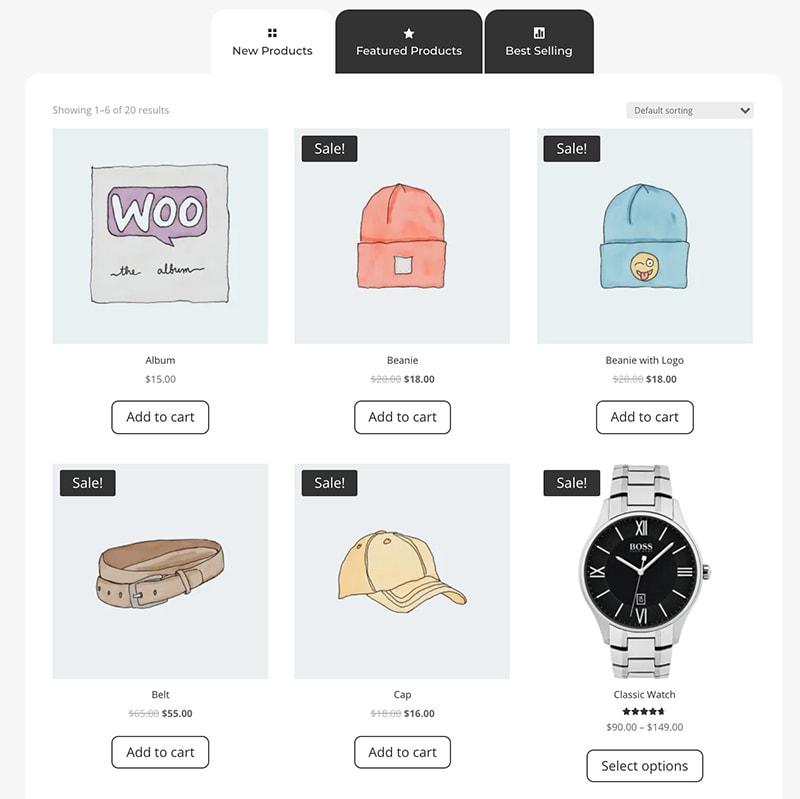 shop tabs module for Divi design 4