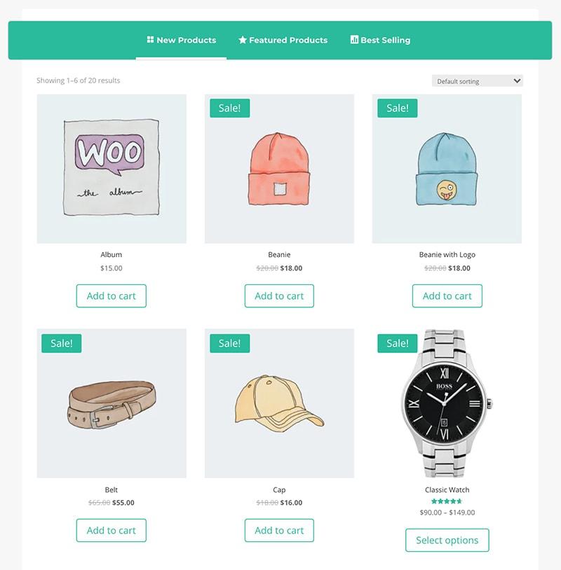 shop tabs module for Divi design 5