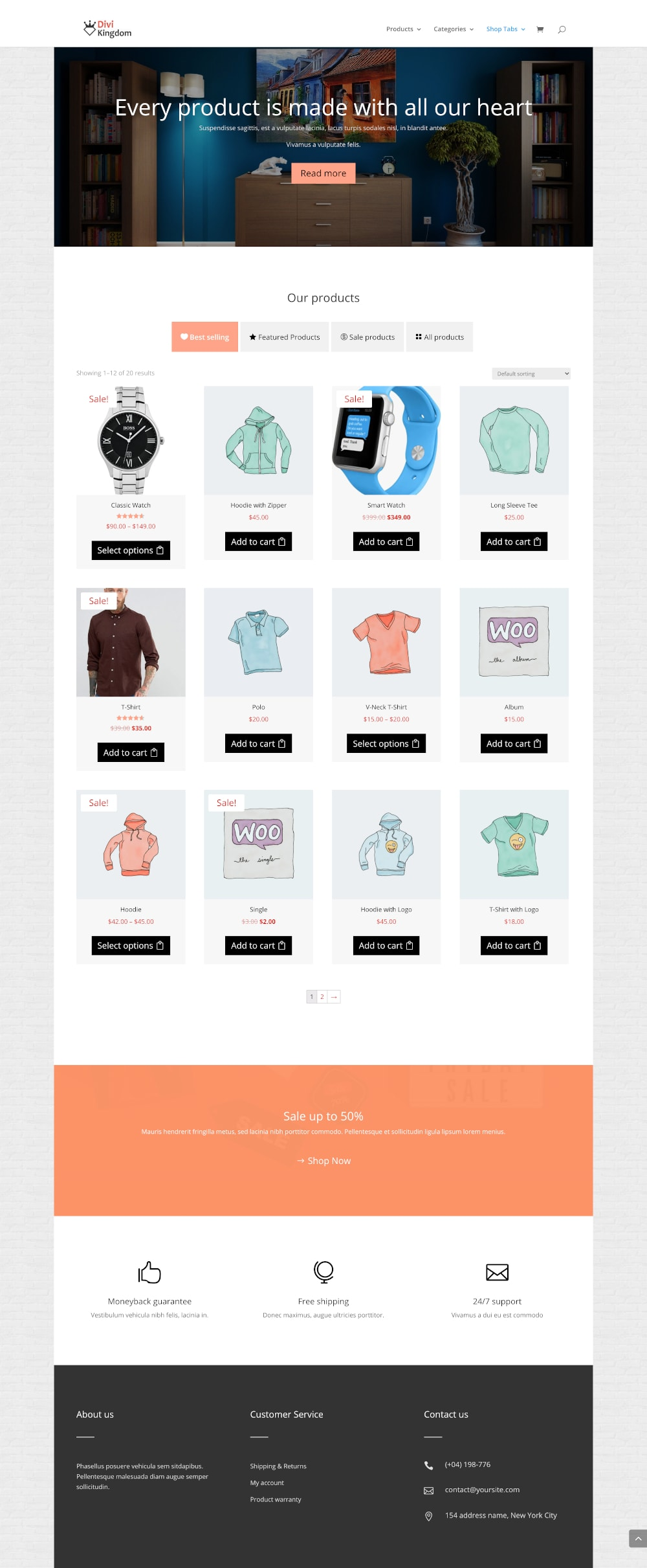 Shop tabs module - free divi layout 1