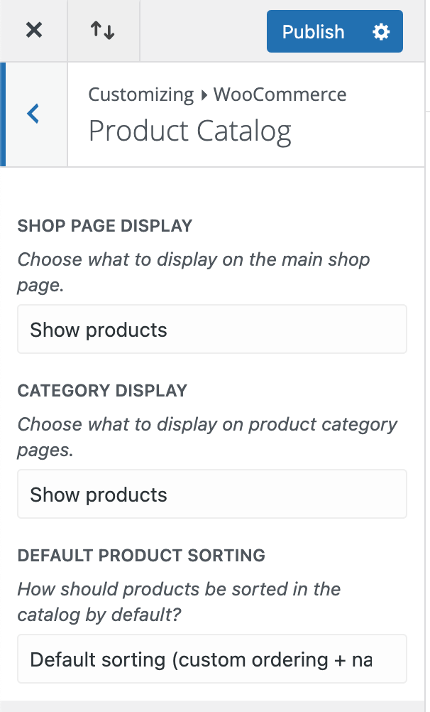 Display categories on the shop page