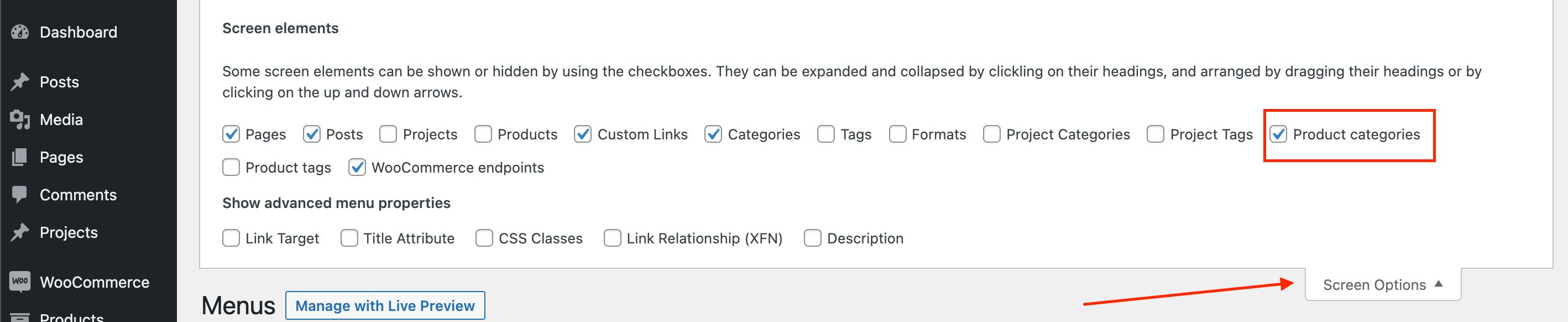 Display WooCommerce categories in the menu