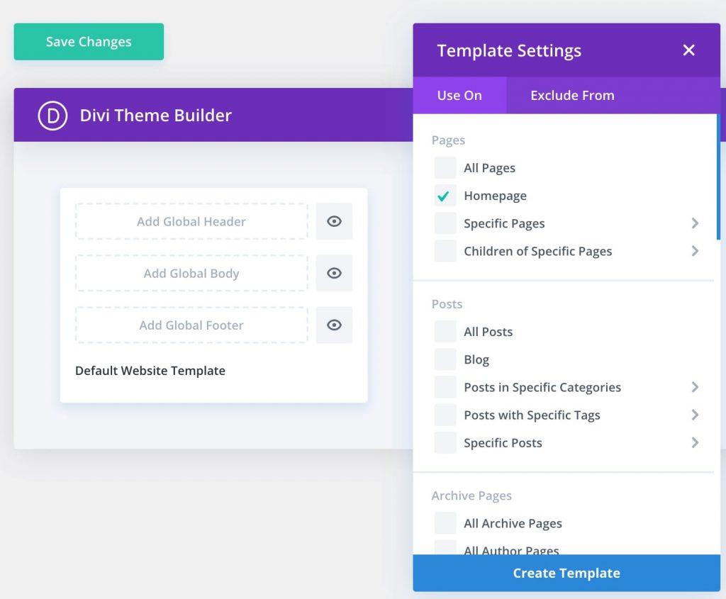 Set the home page via Divi theme builder